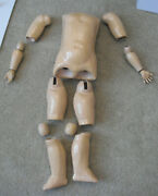 Vintage 1920s Germany 15 Pcs Composition Girl Doll Body Arms Legs 17 1/2 Tall