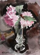 Erik Freyman, Flowers In Glass, Watercolor With Pastel On Paper, Signed In Pen