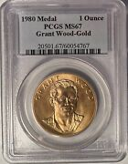 1980 Grant Wood American Arts 1 Oz. Gold Medal Pcgs Ms67 — Hard To Find