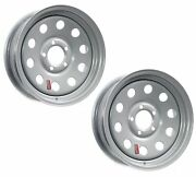 2-pack Trailer Rims Wheels 15 X 6 In. Modular 5 Bolt Hole 4.5 In. Oc Ar Silver