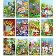 Blooming Flowers Cat And Dog Welcome Garden Flags Outdoor Holiday Lawn Yard Banner