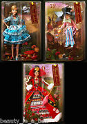 Alice In Wonderland Queen Of Hearts Mad Hatter Barbie Doll Silver Label Lot 3