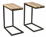 Birdrock Home Acacia Wood Tv Tray Side Table Set Of 2 Industrial Fully Assembled