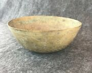 """1920's-30's Chinease Etched Brass Bowl 8-1/4"""" Diameter 3-1/4"""" Tall Marked"""