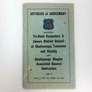 1972 Tri-state Carpenters Joiners Articles Of Agreement Chattanooga Tn Union