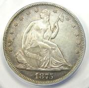 1875 Seated Liberty Half Dollar 50c - Certified Anacs Au50 Details - Rare Coin
