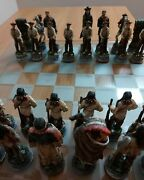 Very Rare Vintage Antique Chess Set Wild West Handmade In A Single Copy