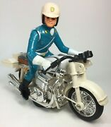 Vintage Japan Plastic Metal Friction Honda Police Motorcycle And Rider Toy