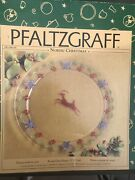 Pfaltzgraff Nordic Christmas Round Glass Platter 13 Inches Reindeer France Box