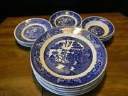 Vintage 19 Piece Set Of Royal Blue Willow China Service For 4++ Vg-excellent