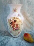 Crubs Angles Antique Baccarat French Opaline Glass Vase 12 19th C Hand Painted