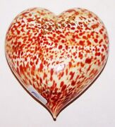 Vetro Artistico Murano Italy Art Glass Heart Rust And Gold Sculpture/paperweight