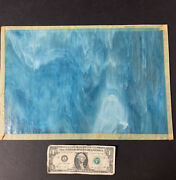 Piece Of Blue Swirled Slag Glass Panel Sheet 15.5 X 10.5 Arts Crafts Lamps