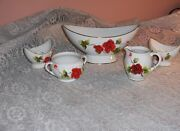 Vintage Royal Sealy China Porcelain 5 Pc Centerpiece Bowl Candle Holders