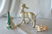 3 Vintage Figurines - Donkey, White Bear And St Patrick's Day Pig