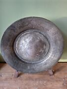 Antique Pewter Plate / Dish / Charger With Thistle Etchings - Scottish Celtic