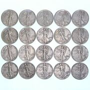 Walking Liberty Half Dollar Roll 90 Silver 10 Face 20 Mixed Date Very Fine