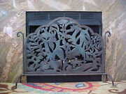 Antique Arts And Crafts Mission Wrought Iron Steel Fireplace Screen