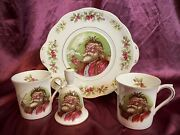 Queenandrsquos China Old St. Nicholas Rosina Cookie Platter 2 Mugs And Bell Christmas Set