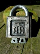 Antique Vintage Made In Russia Padlock With Two Keys Working Order Collector A