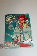 New 1950s Junior Deputy Sheriff Badge And Handcuffs Moc Rack Toy Cowboy Aywon Wire