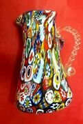 Vintage Millefiori Murano Glass Pitcher With Clear Bali Twist Glass Handle