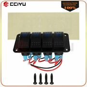 4 Gang On-off Toggle Switch Panel 2usb 12v For Car Boat Marine Rv Truck Camper