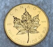 1979 1 Oz .999 Fine Pure Gold Canadian Maple Leaf Rare First Issue Young Head