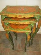 Outstanding Rare Hand Tole Painted Floral Set Italian Wood 1920and039s Nesting Tables