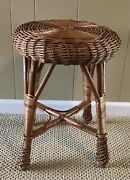 Vintage Wicker Rattan Stool Vanity Bench Ottoman Plant Stand Low Table Wood 18t