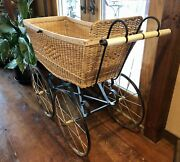 Antique Wicker Baby Carriage Full Size Buggy Purchased In London