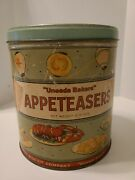 Vintage Uneeda Bakers Appeteasers 13.5oz Metal Advertising Tin Can W/ Lid