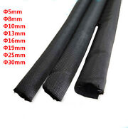 Self-rolling Black Braided Sleeve Tube Cable Expandable Opened Sheath 5mm - 30mm