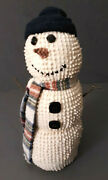 Primitive Chenille Snowman Doll Country Farmhouse Rustic Holiday Standing 13