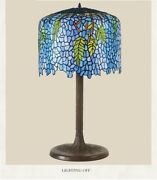 Tabletop Lampshade Home Decoration Stained Glass Style Desk Light Lamps
