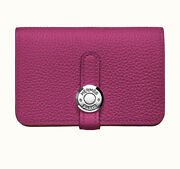 100 Auth. Hermes Dogon Card Case Togo Rose Purple Silverhardware Sold Out