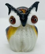 Large Vintage Mouth-blown Murano Oil Spot Art Glass Owl Paperweight