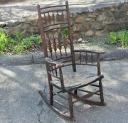 Antique Boston Rocking Chair Wm White Bench Made Signed 19th Century Rocker