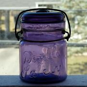 Antique Pint Size Double Safety Purple Fruit Canning Jar Free Shipping