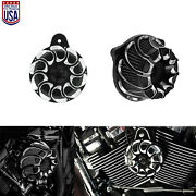 Spin Cut Air Cleaner W/ Horn Speaker Cover Fit For Harley Touring 00-07 Softail