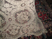 Handmade Vintage Brussels Lace Banquet Tablecloth And 12 Napkins