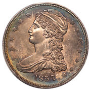 1837 50c Reeded Edge Capped Bust Half Dollar 50 Cents On Rev Pcgs Ms60 Gr-13