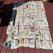 Lot Of 75 Vintage Sewing Patterns Please See Photos Bag Of Buttons As Well