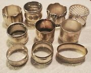 Vintage Lot Of 10 Sterling Silver Napkin Rings