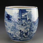 Antique Yuan Dynasty Blue And White Ask Way In Mountain Pattern Porcelain Jar