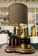 Mid Century Nautical Lamp W/ Pulley+rope+wood Base Vintage Starboard Ship Light