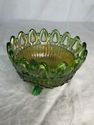 Vintage Northwood Carnival Glass Green Lace Open Bowl Trinket/ Candy Marked Nice