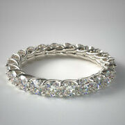 Natural Round Cut 14k White Gold 2.00 Ct Engagement Eternity Band Size 4 5 6 7 8