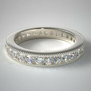 Round Cut Real 14k White Gold 1.00 Ct Diamond Engagement Eternity Bands Size 5 6