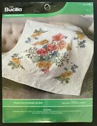 Bucilla Stamped Cross Stitch Wild Roses Lap Quilt/ Wall Hanging 45 X 45